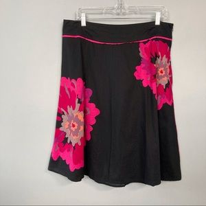 Lane Bryant Black and Pin Floral A-Line Skirt